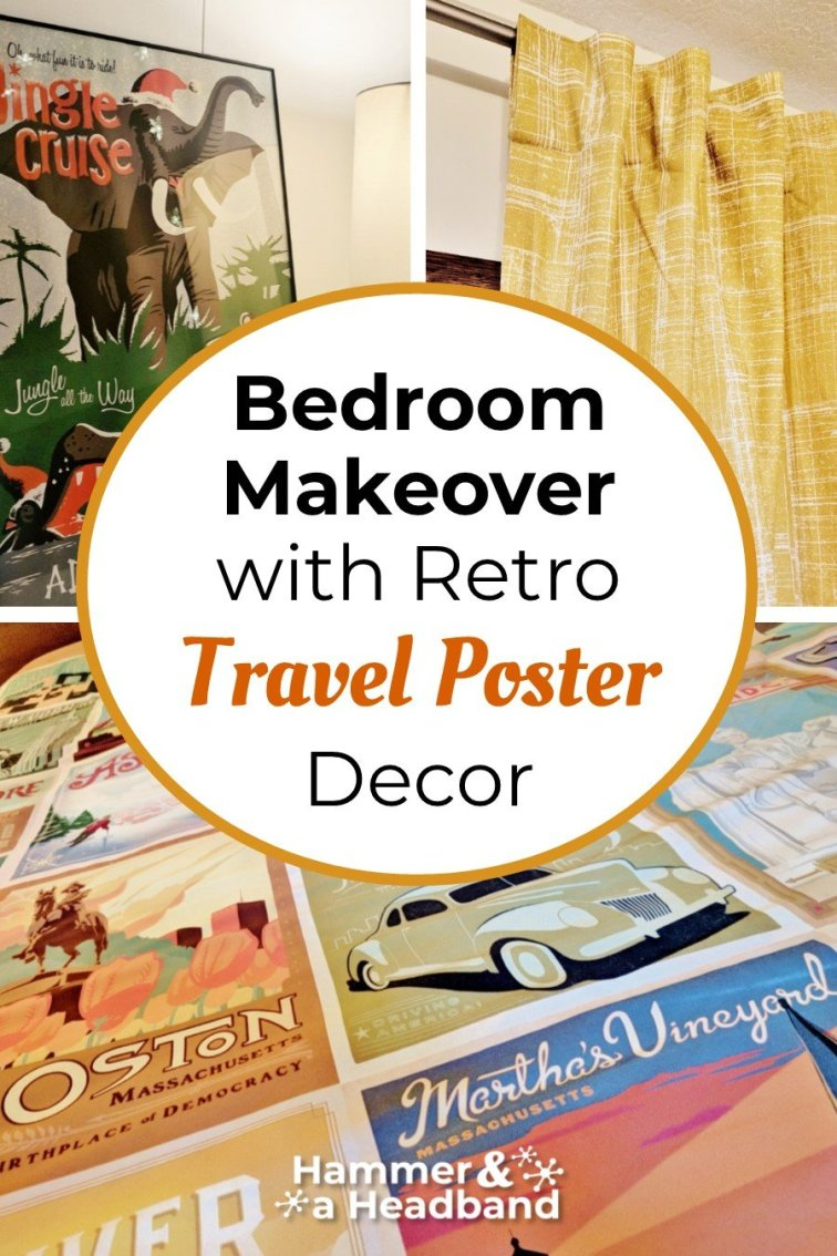 Bedroom makeover with retro travel poster decor