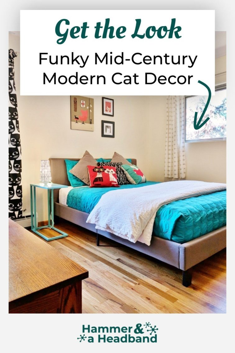 Funky mid-century modern cat decor