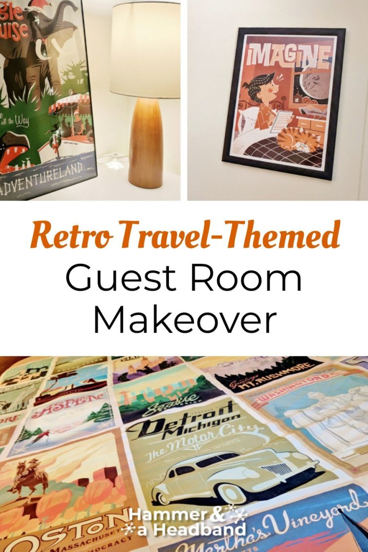 Retro travel-themed guest room makeover