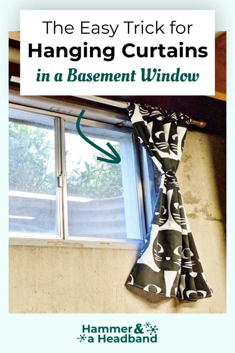 The easy trick for hanging curtains in a basement window