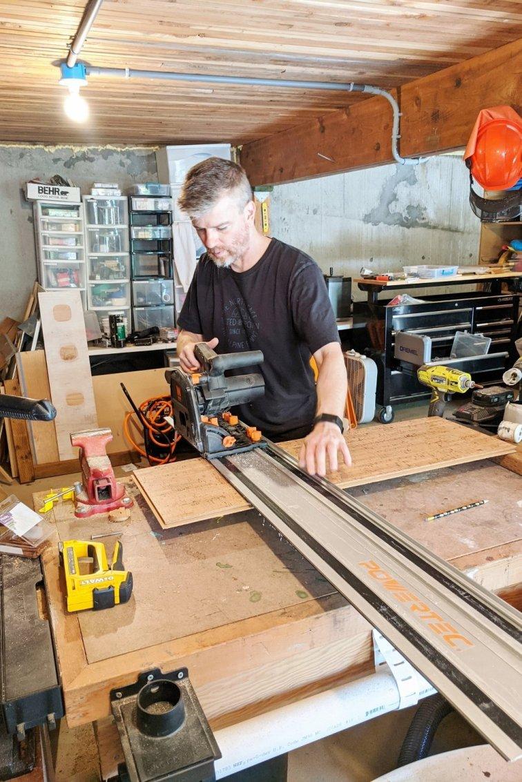 Eric cutting a cork plank
