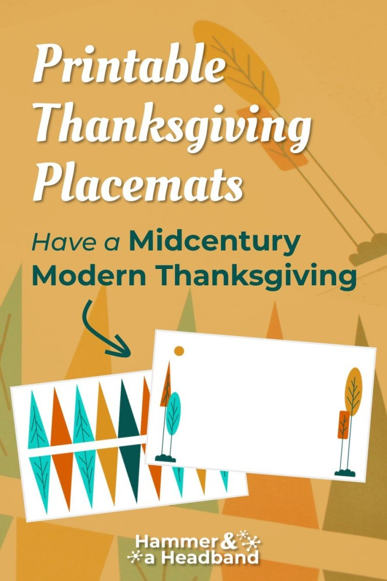 Printable Thanksgiving placemats for a mid-century modern celebration