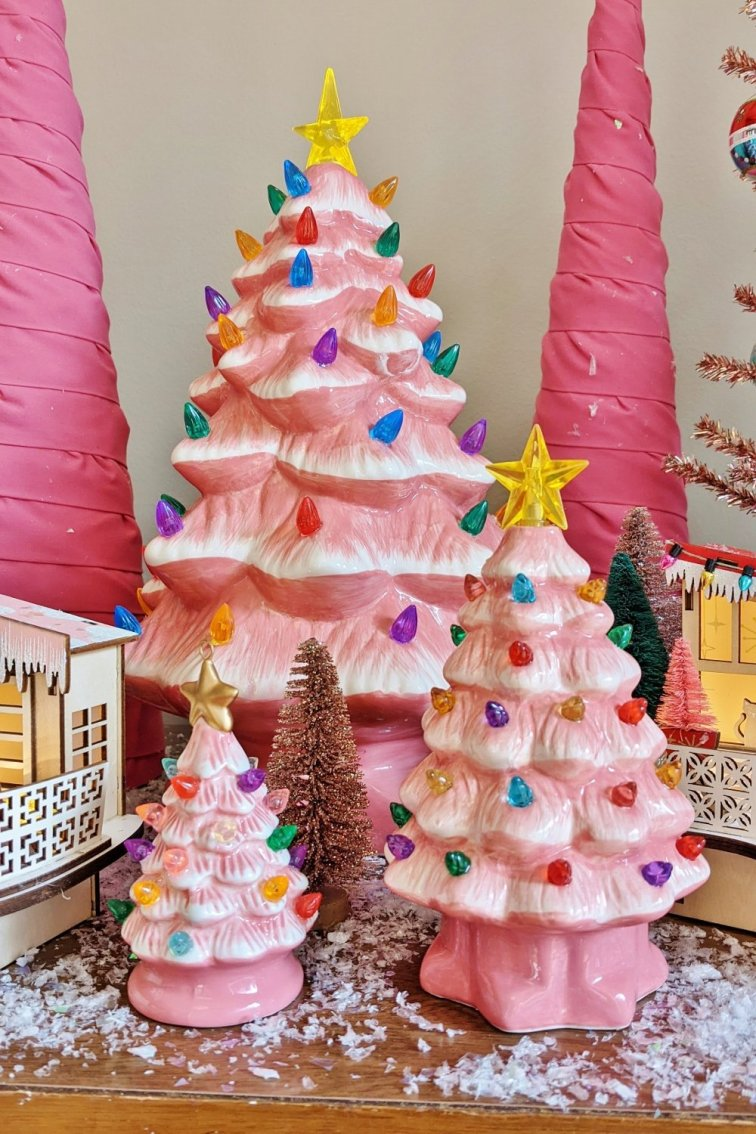 Pink ceramic Christmas trees that light up