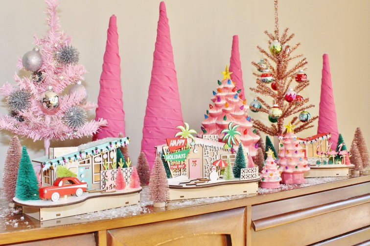 Mid-century modern Christmas village and pink tree display