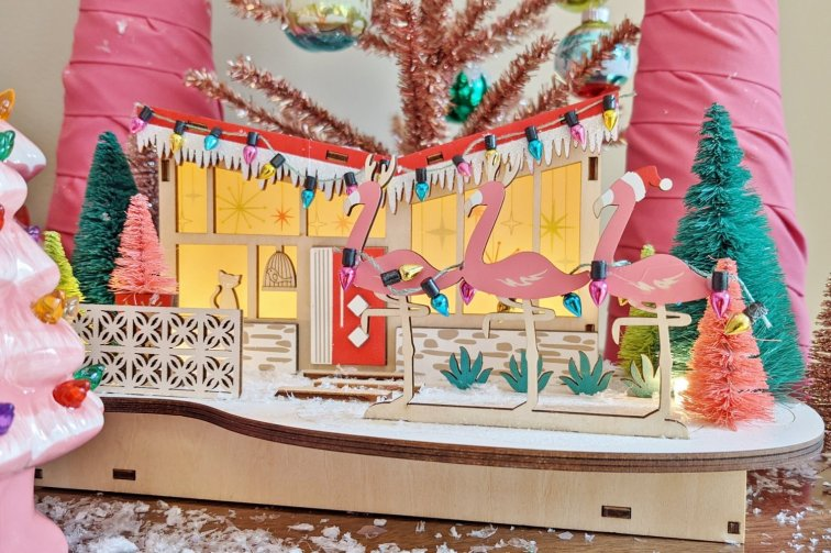 Retro Christmas village house with butterfly roof from World Market