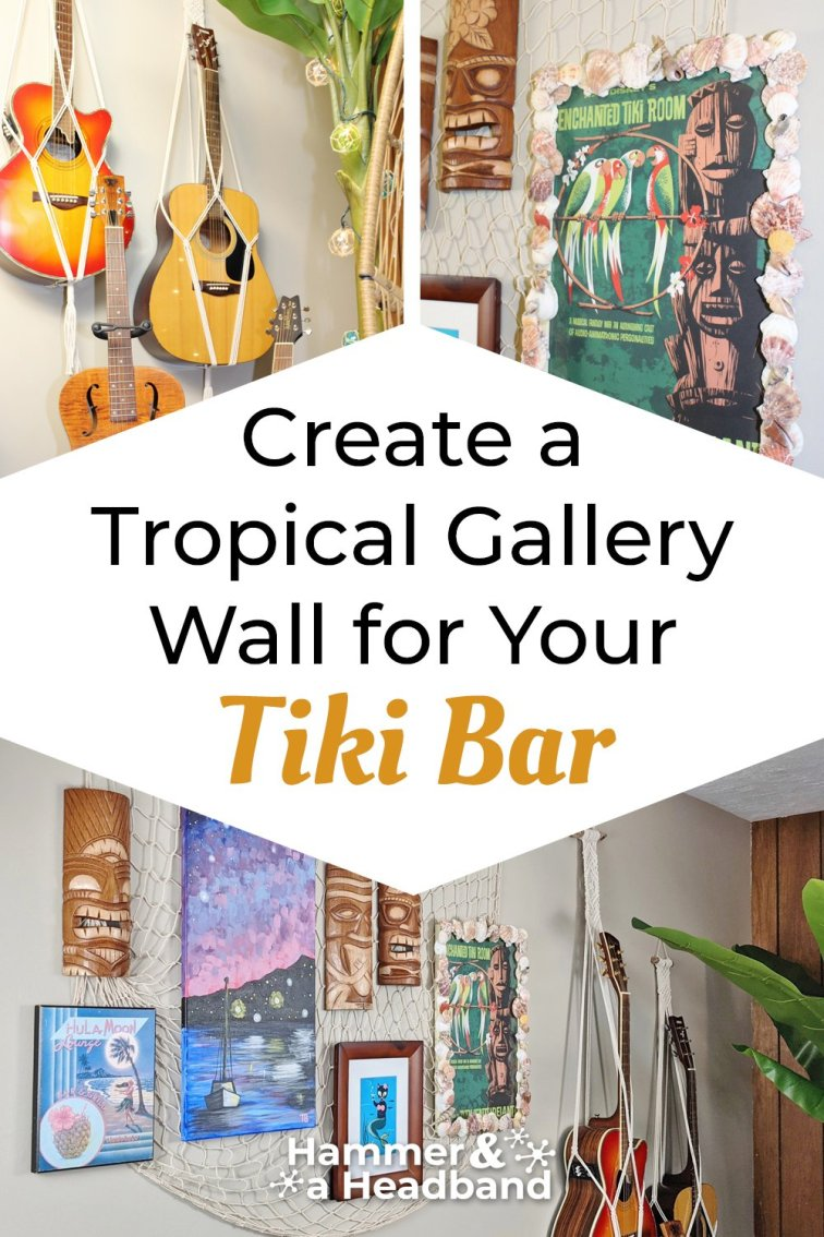 Create a tropical gallery wall for your tiki bar
