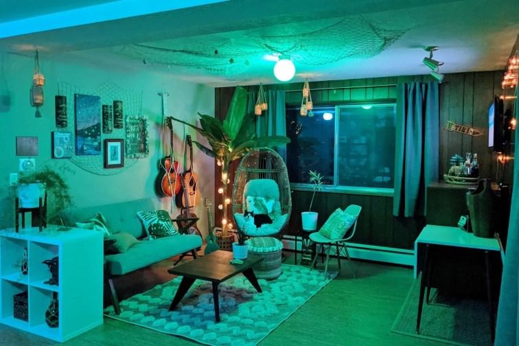 Basement tiki bar decor with mid-century modern furniture