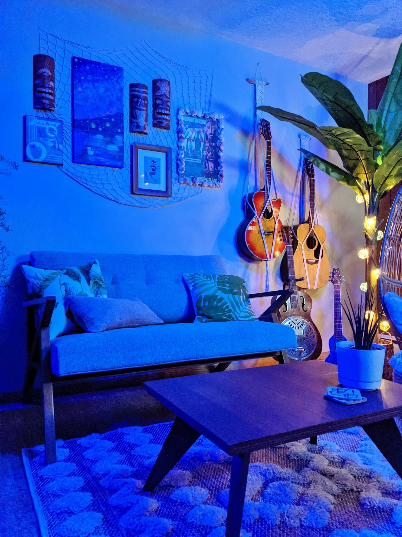 Tiki bar mid-century modern lounge furniture, loveseat and coffee table