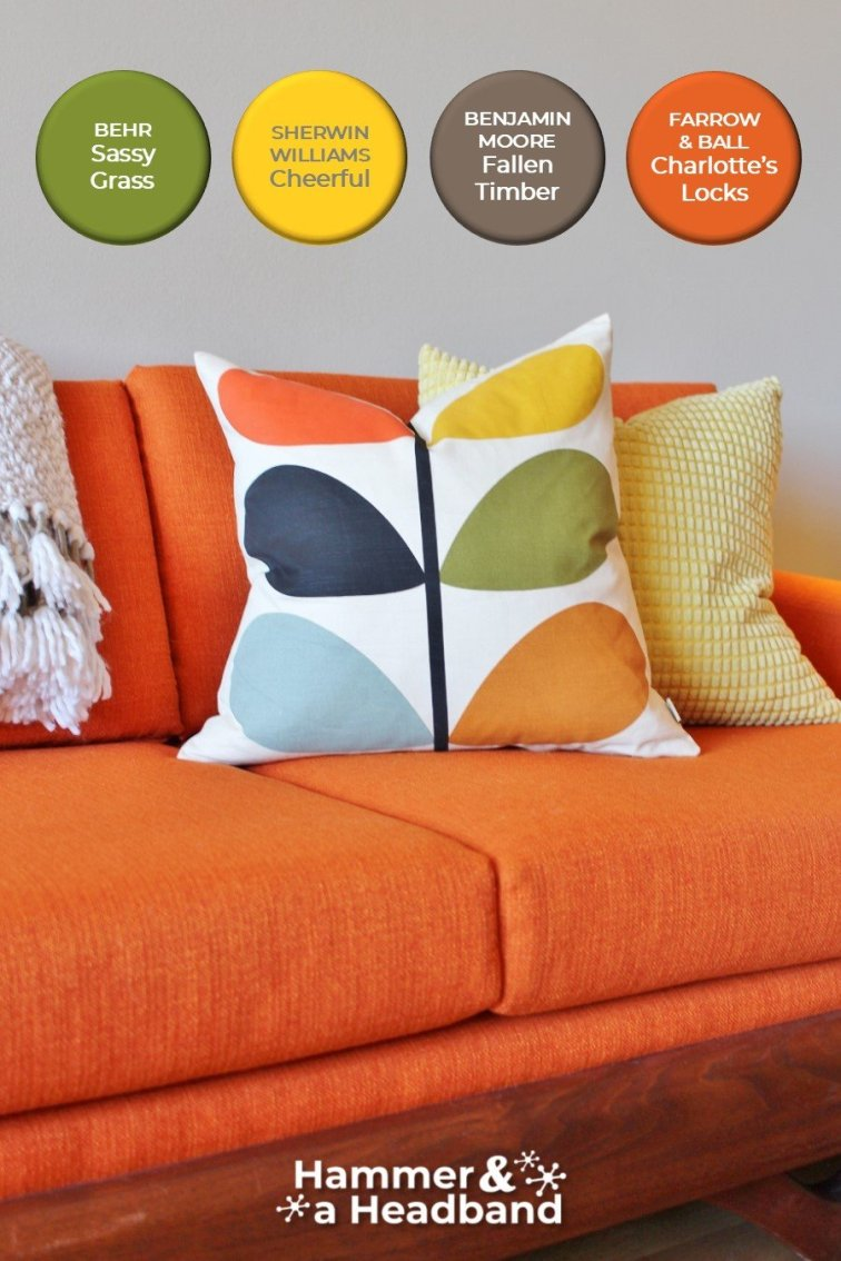 Bold mid-century modern color palette with orange, avocado and yellow