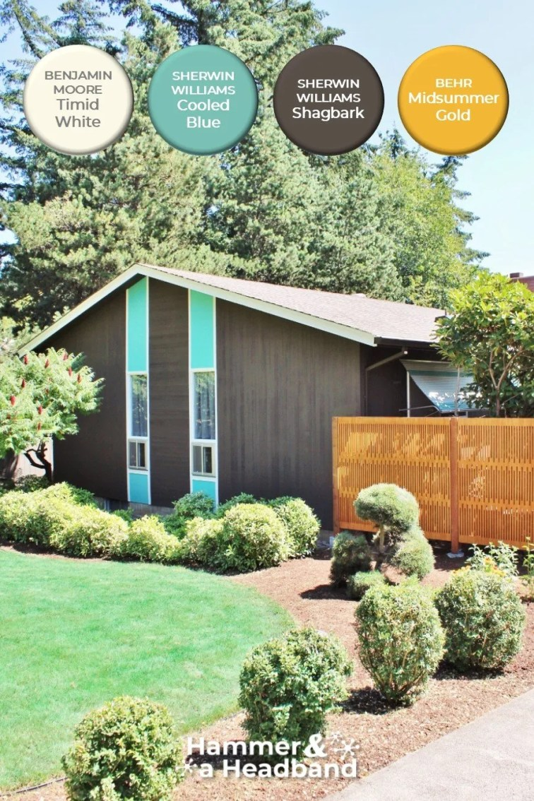 Sherwin Williams Shagbark and Cooled Blue exterior paint on mid-century modern house