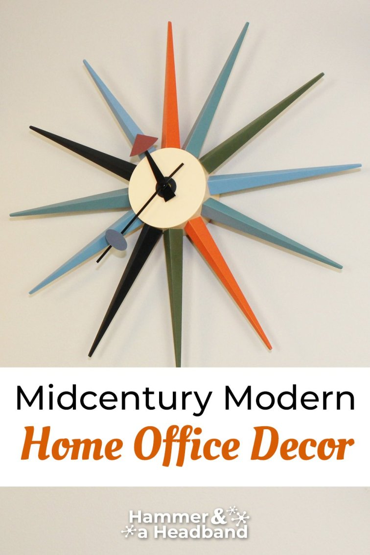 Mid-century modern home office decor with starburst wall clock