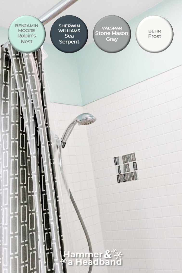 Mid-century modern bathroom aqua color palette