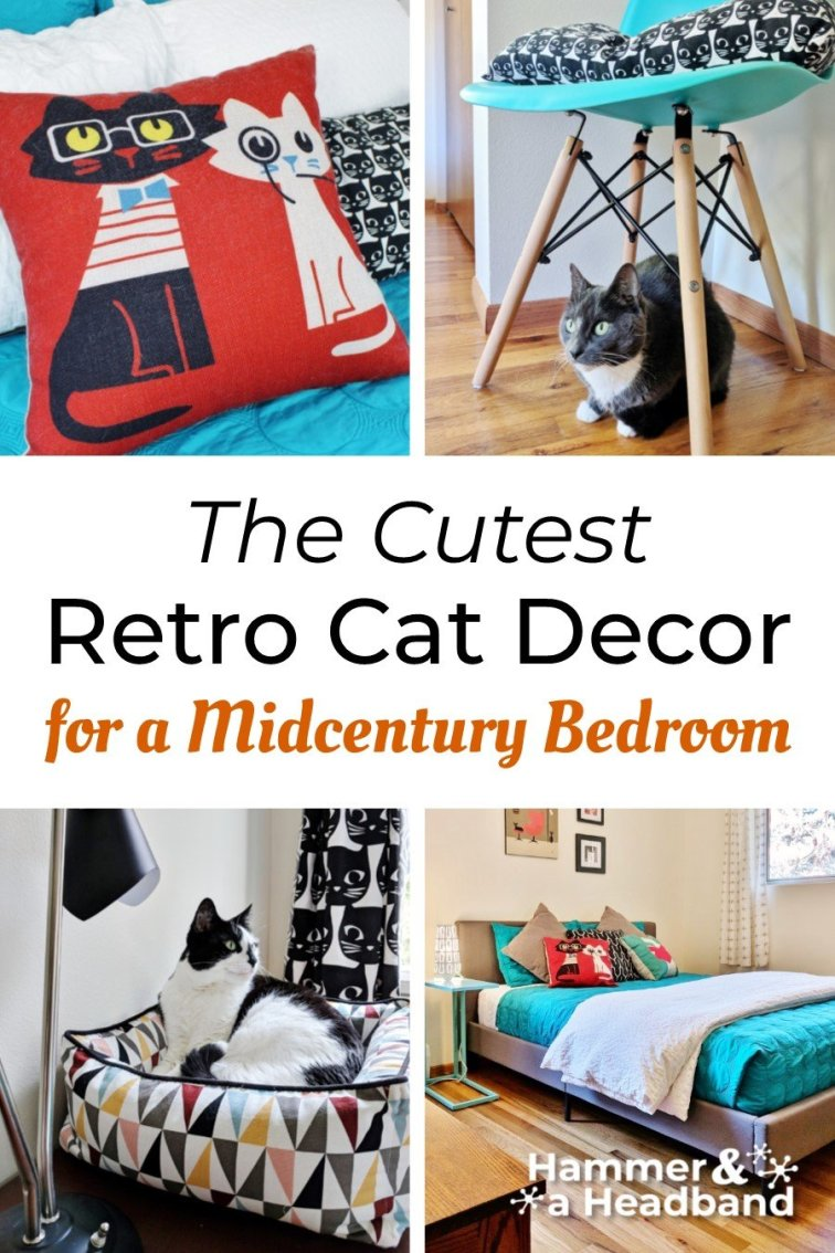 The cutest retro cat decor for a mid-century modern bedroom