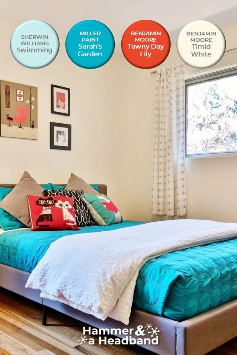 Bold turquoise and red orange color palette in MCM bedroom