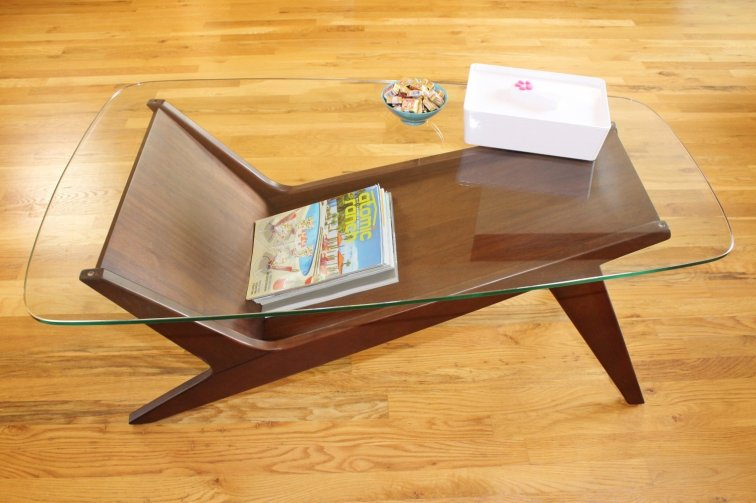 Mid-century coffee table with glass top and walnut wood base - West Elm Marcio Display Coffee Table