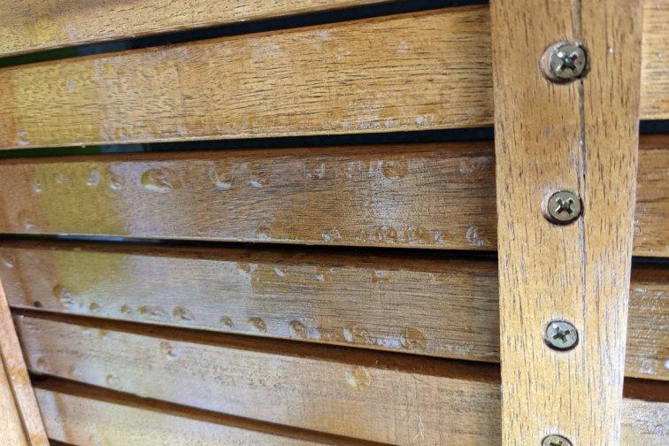 Teak oil drip marks on outdoor furniture