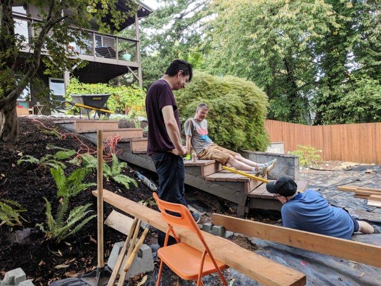 Family building deck base together