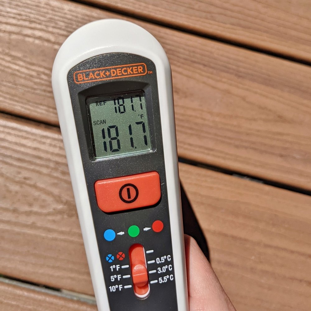 Temperature of Trex deck boards on a 116-degree hot summer day