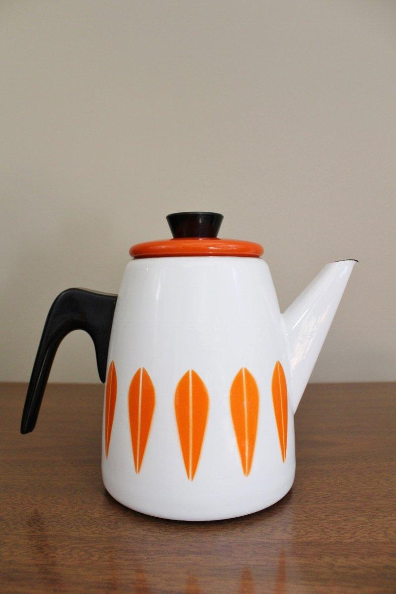 Cathrineholm white coffee pot with orange lotus leaves