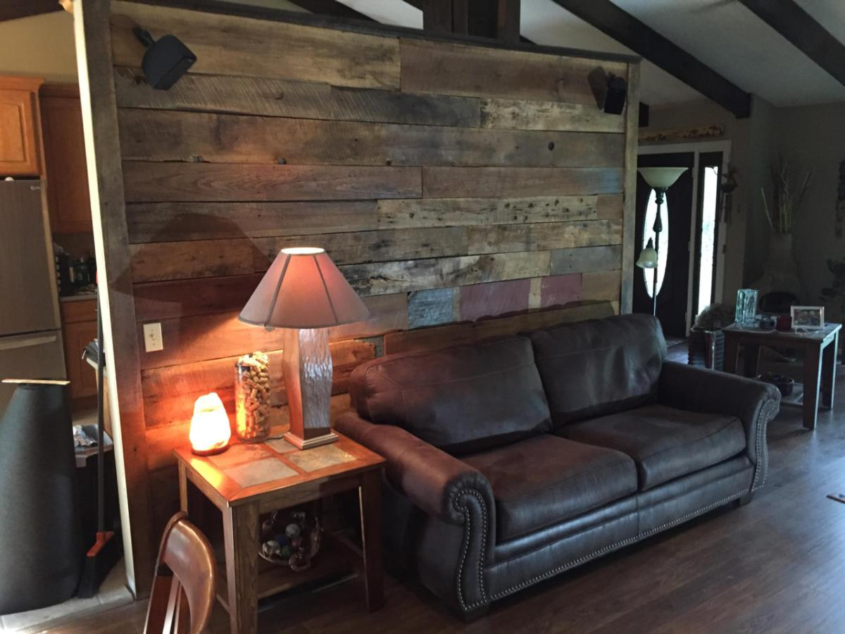 Reclaimed Wood Rustic Home Office: Barnwood Accent Walls