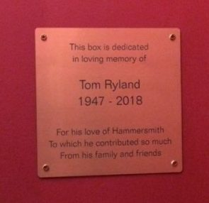 Tom Ryland plaque - Lyric theatre box