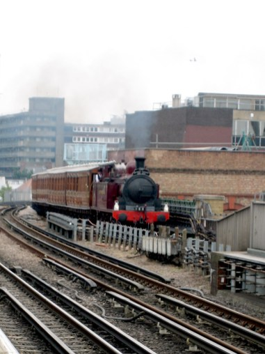 Steam train approaching Ravenscourt Park, June 23rd 2019