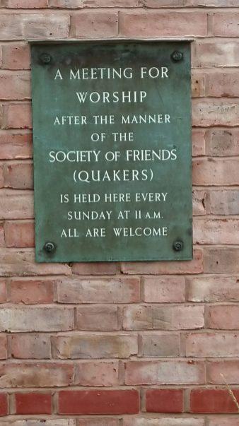 Quaker meeting plaque