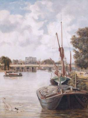 The Present Hammersmith Bridge under Construction, Showing the Temporary Bridge, by John Archibald Webb