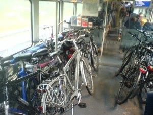 Berlin - double decker train with bikes
