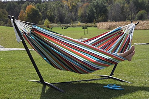 one of the most popular hammock with stand kits  and our editor u0027s pick   is the vivere double sunbrella hammock with steel stand  best hammock with stand   ultimate buying guide and review 2017  rh   hammockgurus