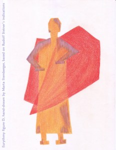 Eurythmy figure D, hand-drawn by Marta Stemberger, based on Rudolf Steiner's indications
