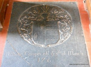 William Cowper Burial Plaque