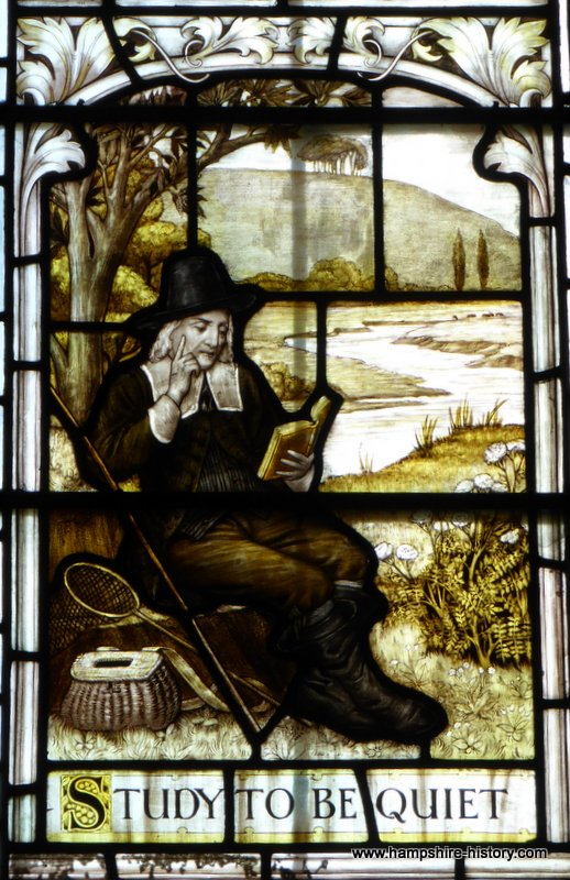 Part of the Izaak Walton window Winchester Cathedral