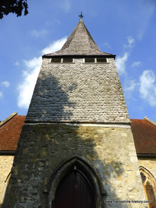 Wonderful wood shingles on tower of St Boniface Nursling