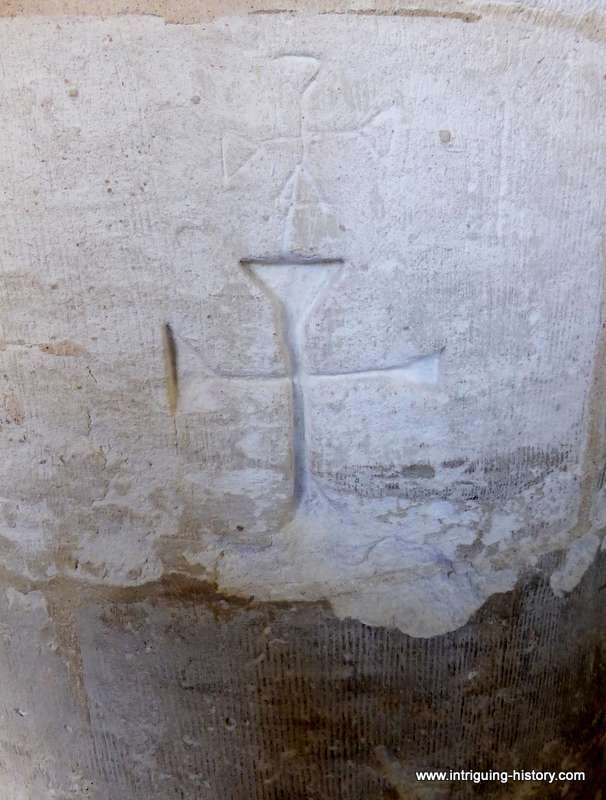 Meonstoke church early pillar graffiti