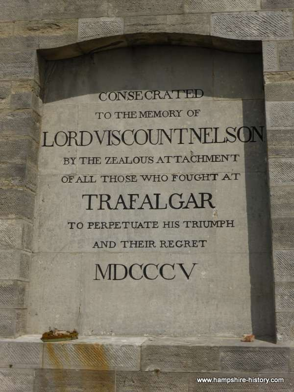 Seaward side inscription on Nelson's Monument