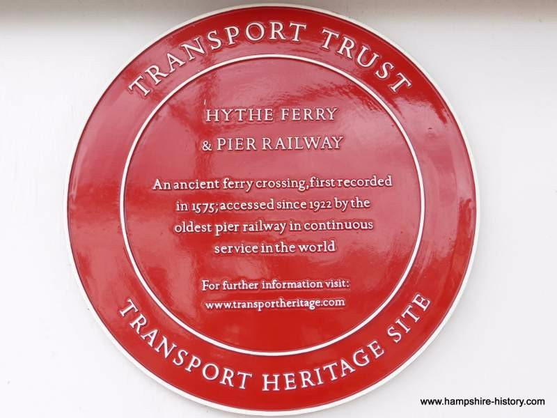 Red plaque at Hythe Pier Ferry