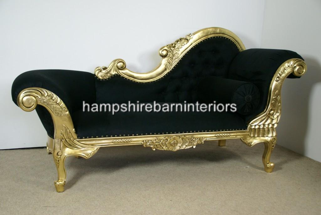 Hampshire Chaise Longue In Gold Leaf And Black Velvet Medium Hampshire Barn Interiors