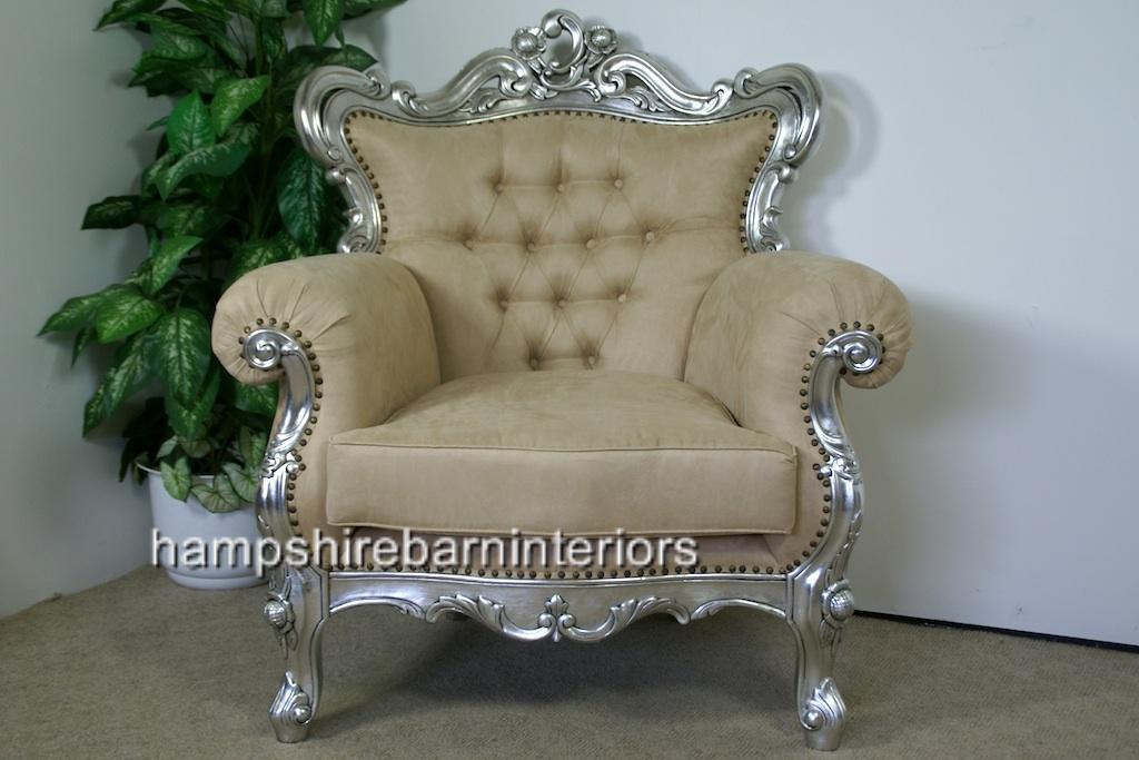 Shaadi Silver Leaf Ornate Arm Chair Hampshire Barn Interiors