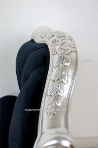 The Angel Chaise Longue In Silver Leaf And Black Velvet In