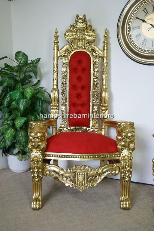 A Gold Lion Throne Chair In Red Fabric Hampshire Barn