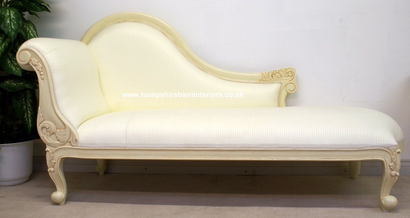 CHELSEA CLASSICAL FRENCH CHAISE Shown In Antiqued Cream