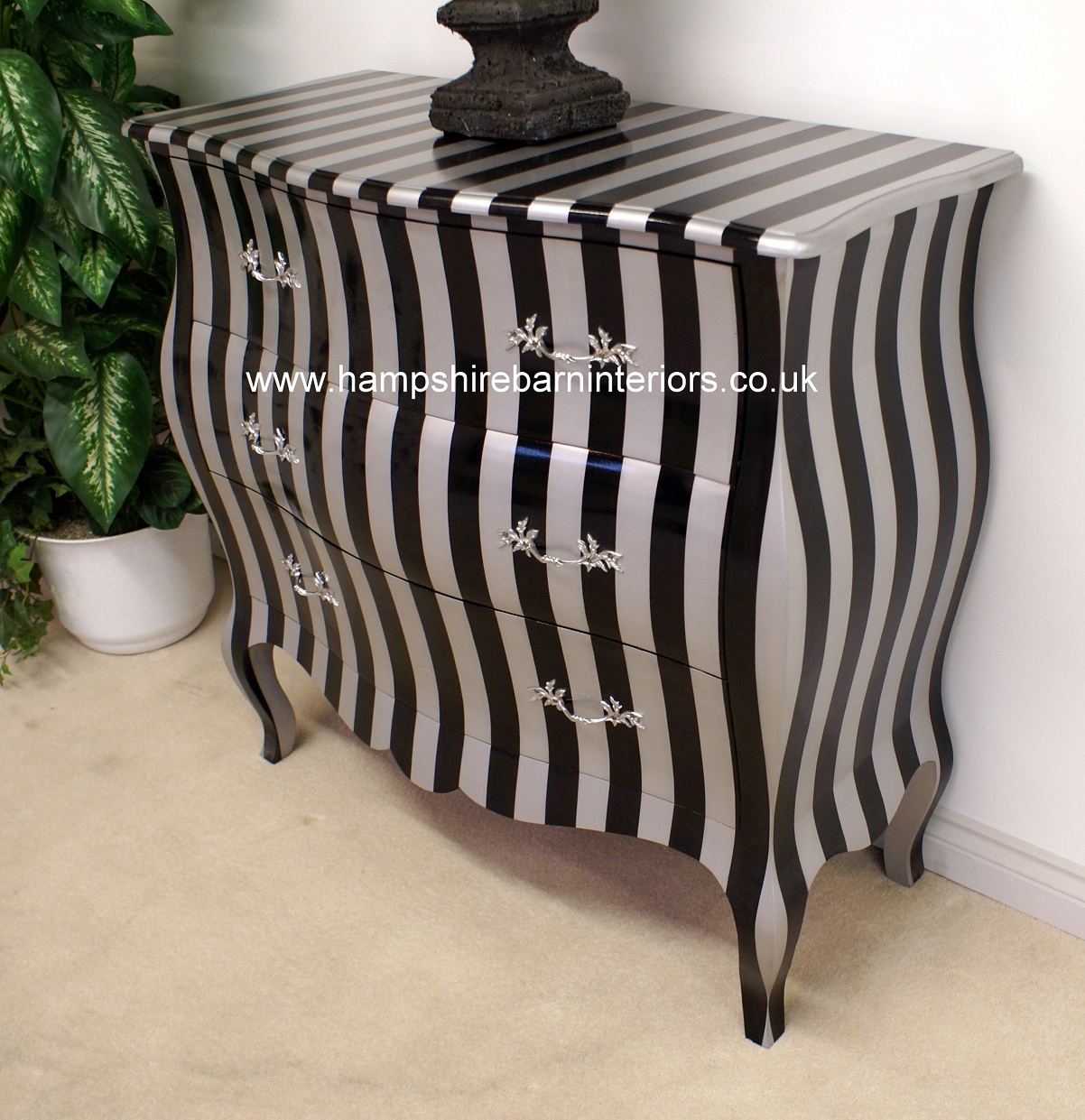 A BLACK Amp SILVER STRIPE BOMBE CHEST OF 3 DRAWERS