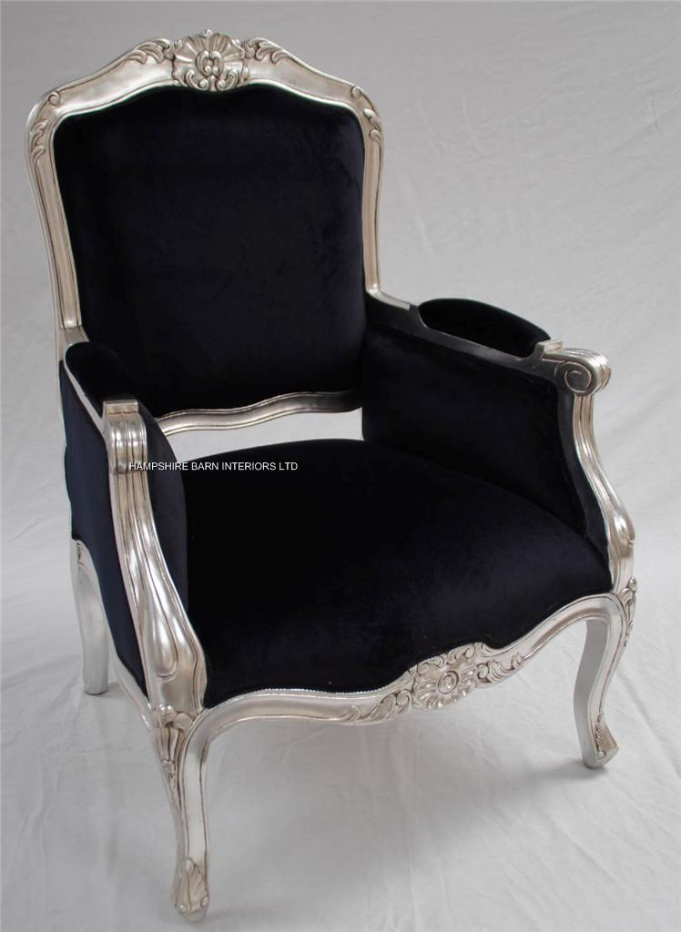 A Beautiful Gold Leaf And Black Arm Chair Hampshire Barn