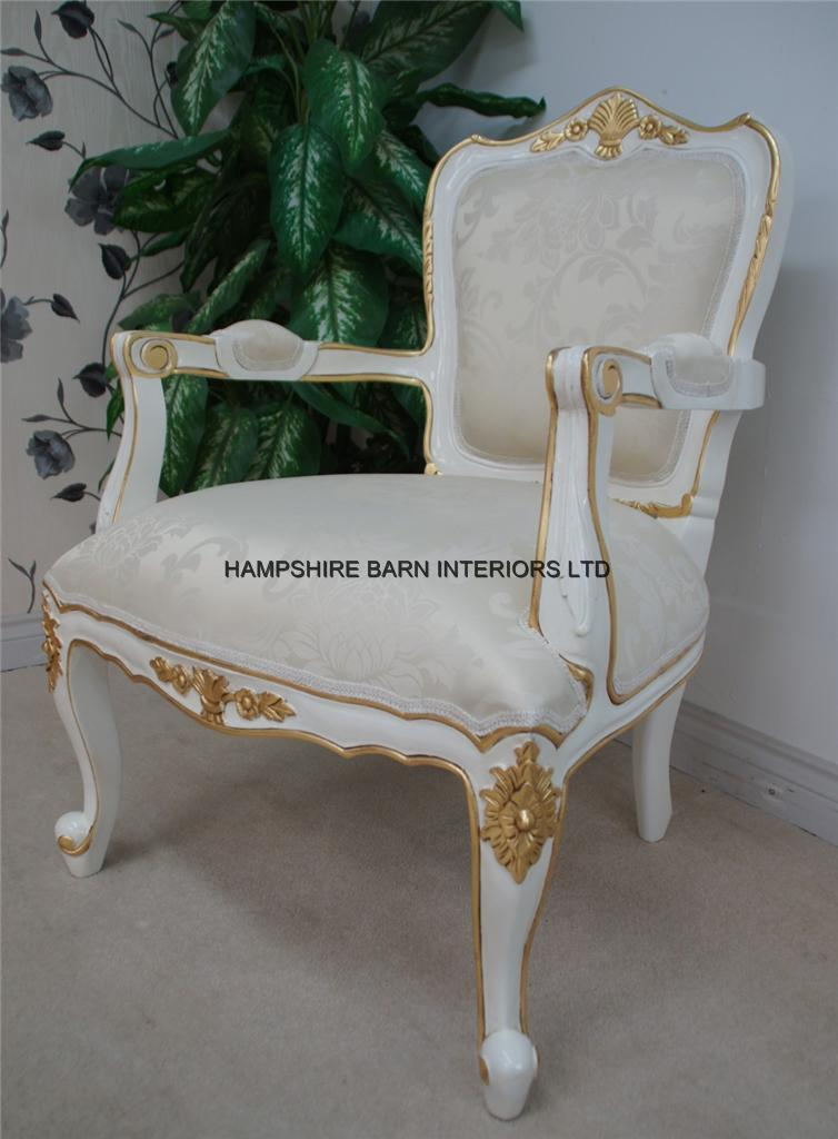 Large French Chair In French White Painted Finish With