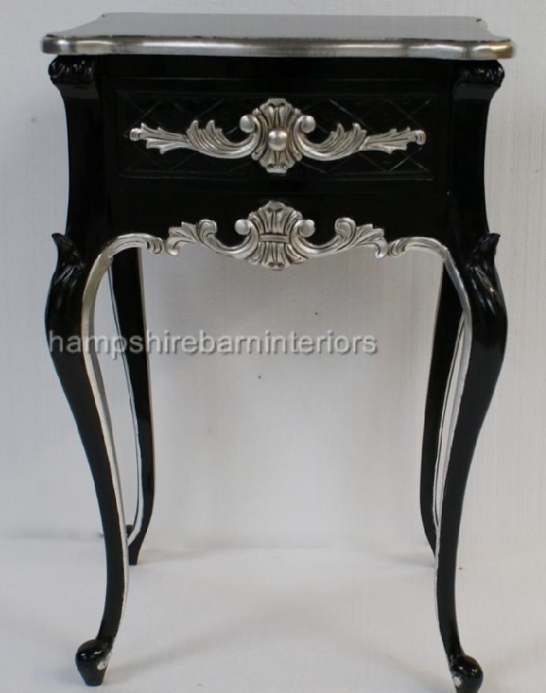 A Beautiful One Drawer Ornate Black Amp Silver Side Cabinet Lamp Table Hampshire Barn Interiors