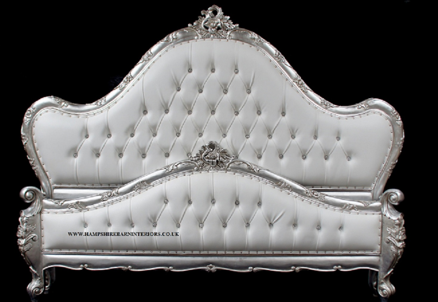 A Charles French Louis Style Bed In Silver Leaf And Upholstered In A White Faux Leather Fabric Crystal Buttons Hampshire Barn Interiors