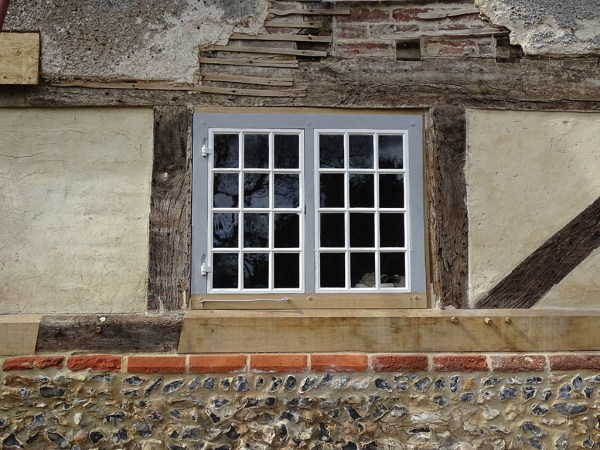 Timber 17thC frame cottage before repair complete