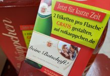 Rotkäppchen: zwei Etiketten gratis gestalten und drucken mit Name und Foto für Sekt-Flasche
