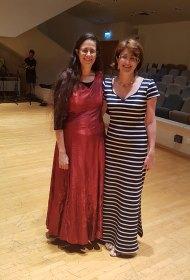 Photo with the harpist Gittit Boasson. Fluids for harp solo by Hana Ajiashvili